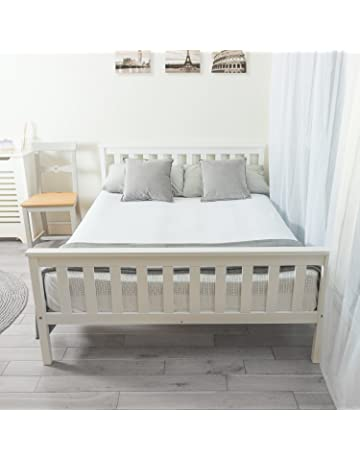 786527ee68dc3 Home Treats Double Bed In White 4 6ft Solid Wooden Frame Perfect For Adults  Kids