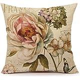 Marche de Fleurs III by Lisa Audit Vintage Flower Butterfly Home Decor Design Throw Pillow Cover Pillow Case 18 x 18 Inch Cotton Linen for Sofa