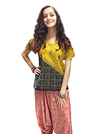602f6928ca4 Image Unavailable. Image not available for. Color: Mogul Womans Tunic Top  Yellow Floral Embroidered Bohemian Hippie Blouse Shirt S