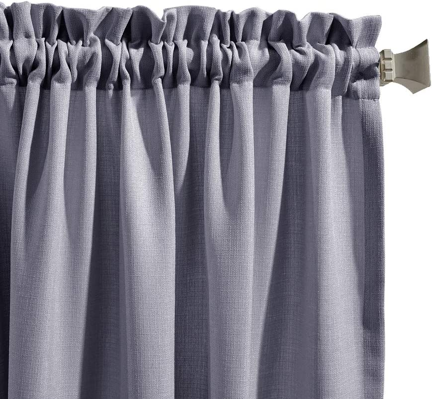 jinchan Tier Curtains Semi Sheer Short Curtains Kitchen Casual Weave Cafe Curtains Half Window Treatments 2 Panels 45 L Grey