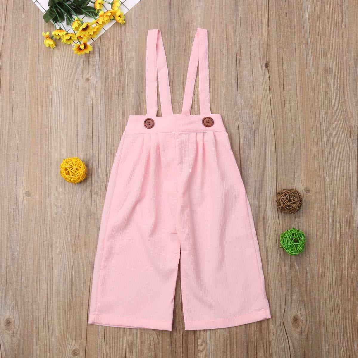 Toddler Baby Girl Strap Pants Kids Adjustable Suspender Pants Overall Chiffon Jumpsuit