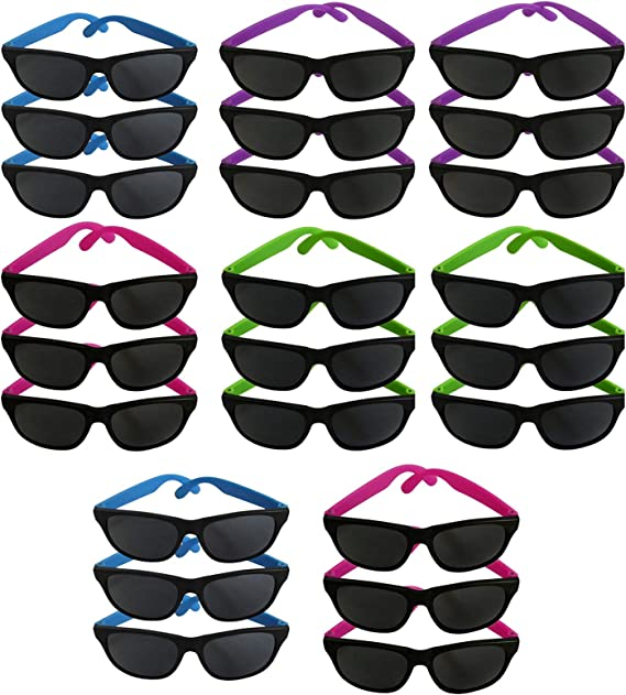 Bachelorette Graduations Neon Sunglasses 80/'s Party Photo Booths 12 Pack Party Pack Favors for Goody Bags Retro Wayfarer Style Shades Adults Bachelor Parties Kids Assorted Wall2Wall Birthdays