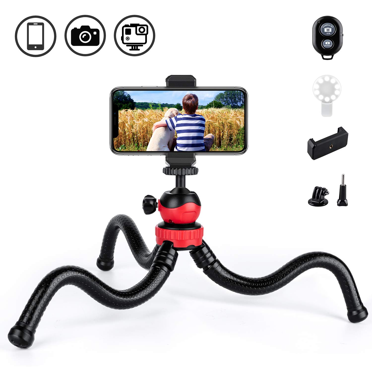 JOYHILL Phone Tripod, Vlogging Tripod, 12'' Flexible Tripod with Wireless Remote, Compatible with iPhone/Android, Anti-Crack Camera Tripod for Gopro by JOYHILL