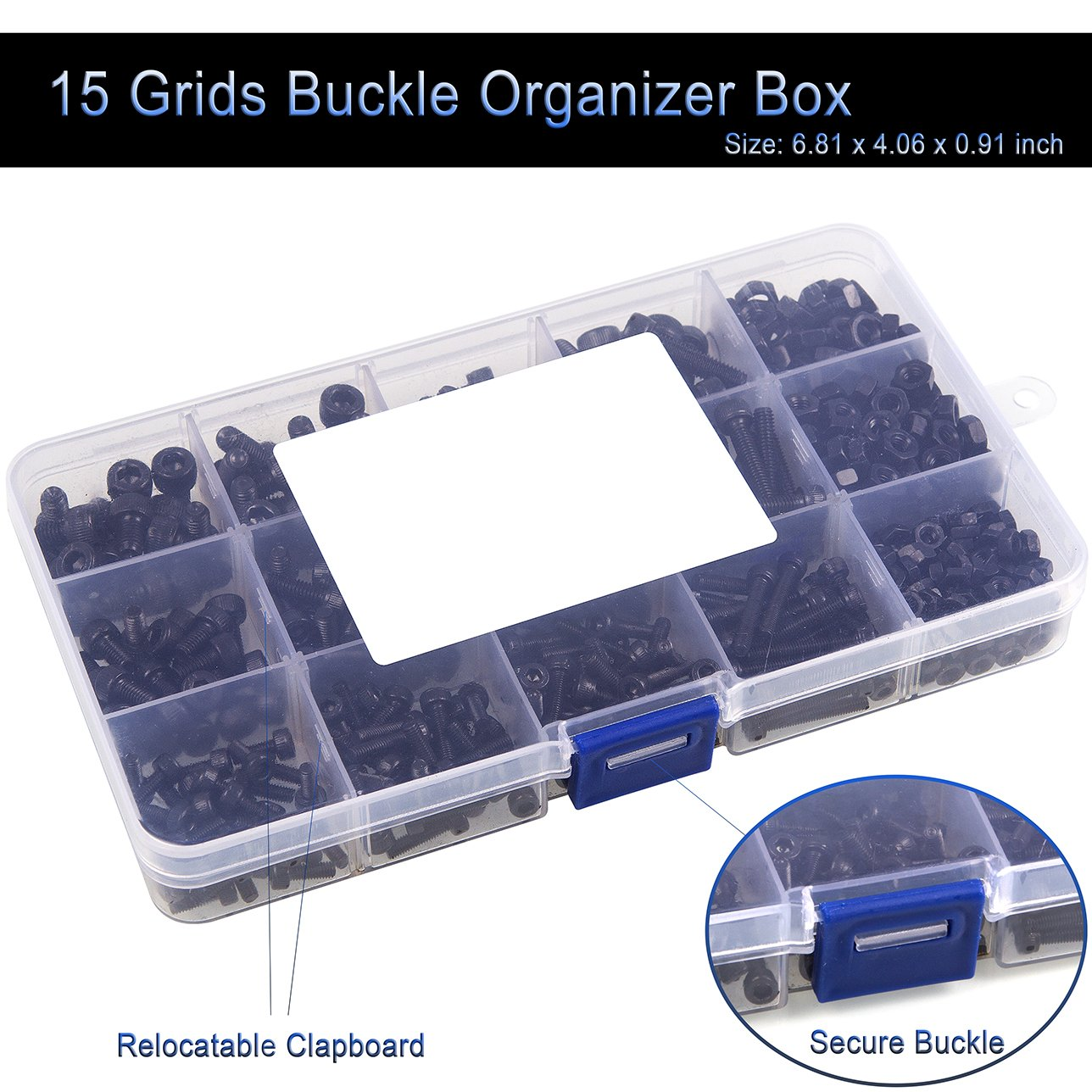 DIN912 High Strength 12.9 Carbon Steel Fasteners Tool Kit ADVcer 500pcs Hex Socket Head Cap Screws Bolts and Nuts Set with 15 Grids Assortment Box Black Oxide Finish M3 M4 M5 Metric Thread Size