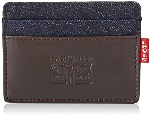 Levis - Leather & Denim Card Case, Carteras Hombre, Marrón (Dark Brown)