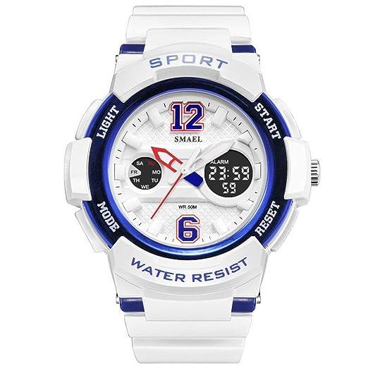 AnazoZ Reloj Deportivo Reloj Mujer Reloj Deportivo Relojes Electronicos Reloj Mujer Quartz Reloj Multifunción Blanco Azul: Amazon.es: Relojes