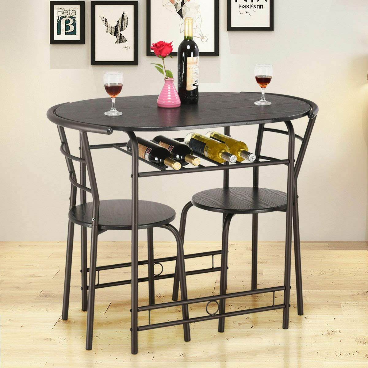 Stark Item 3 PCS Dining Set Table and 2 Chairs Home Kitchen Breakfast Bistro Pub Furniture