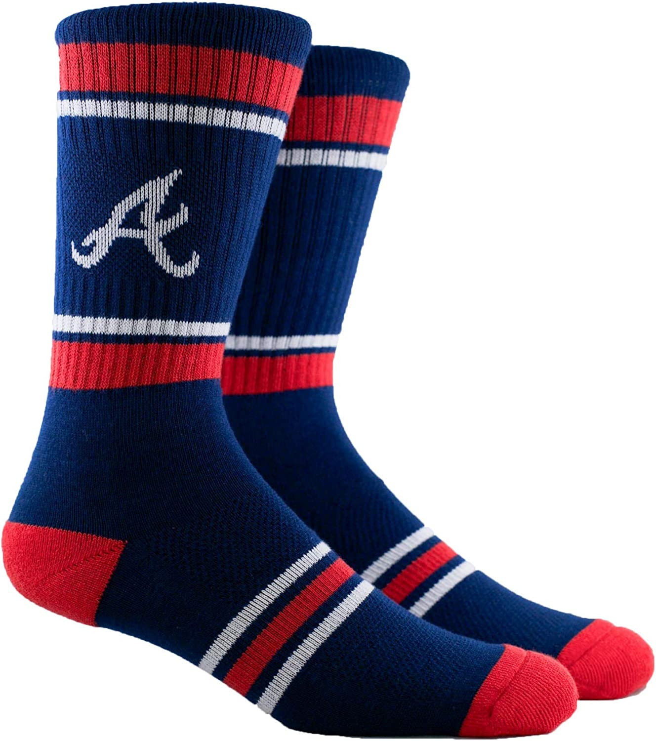 PKWY Unisex 2-Pack MLB Atlanta Braves Mixed Crew Socks