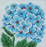 ''Blue Hydrangea'' Beads embroidery kit; contemporary embroidery; gift idea; needlepoint design; decor; seed beads Preciosa;