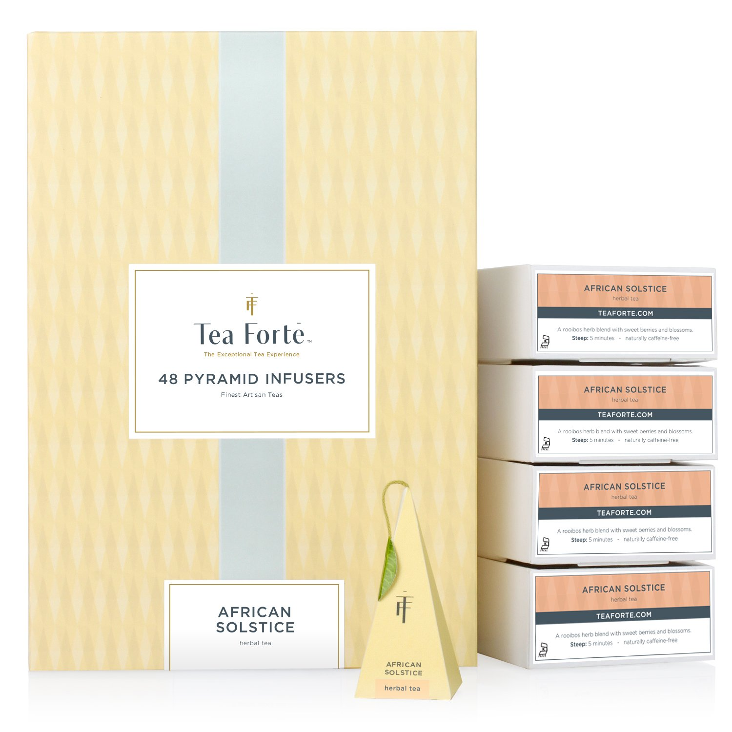 Tea Forté African Solstice EVENT BOX Bulk Pack, 48 Handcrafted Herbal Tea Pyramid Infuser Bags