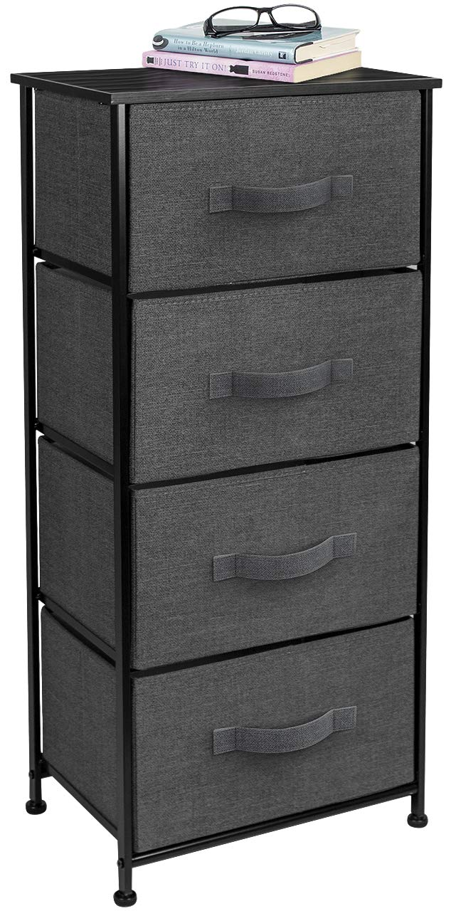 Sorbus Nightstand Chest with 4 Drawers - Bedside Furniture End Table & Dresser for Clothing, Bedroom Accessories, Office, College Dorm, Steel Frame, Wood Top, Easy Pull Fabric Bins (Black/Charcoal) by Sorbus