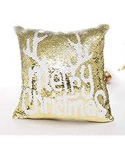 Funda de cojín Elegante con diseño navideño de Doble Cara con Lentejuelas y Purpurina, para decoración del hogar