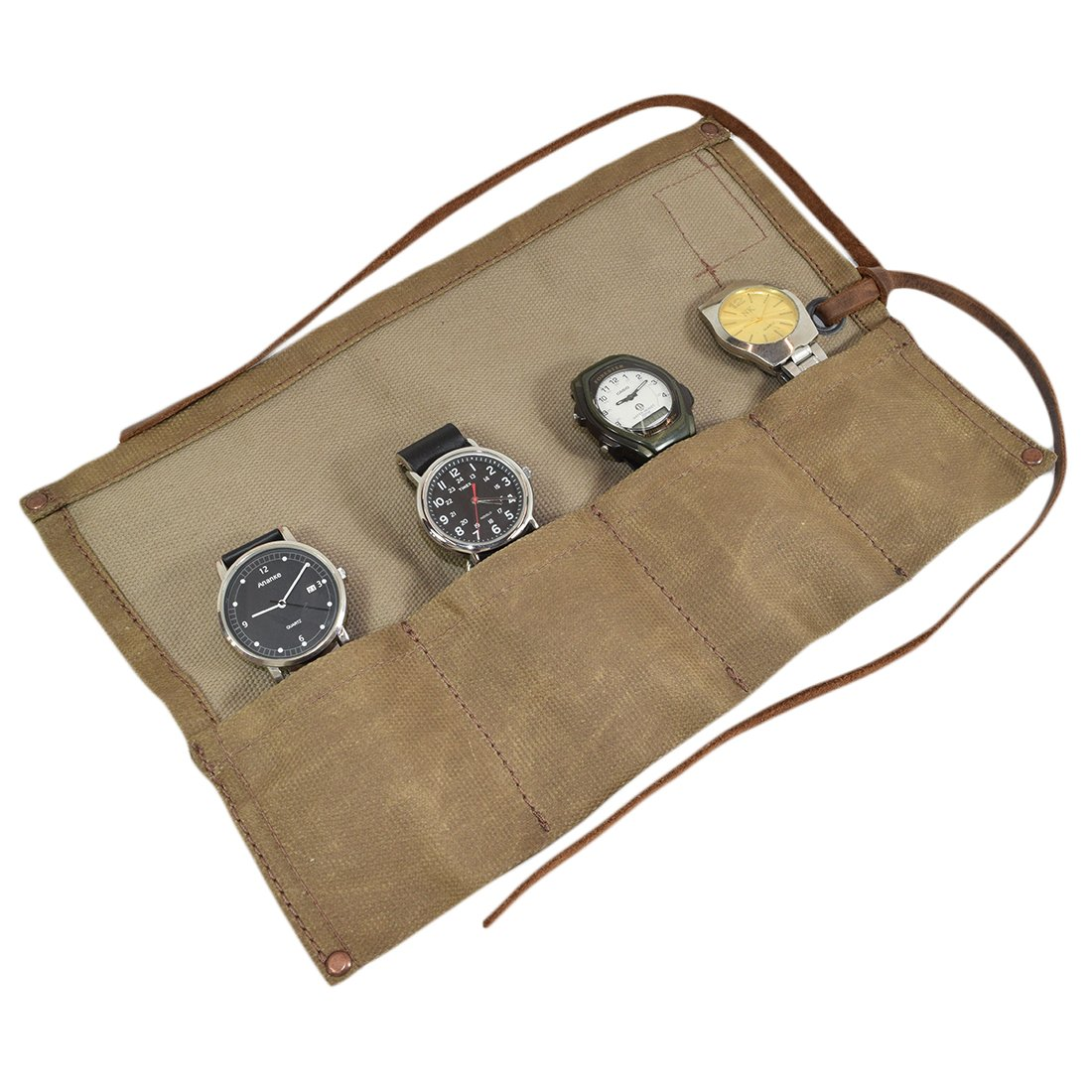 Waxed Canvas Travel Watch Roll Organizer Holds Up To 4 Watches Handmade by Hide & Drink :: Fatigue