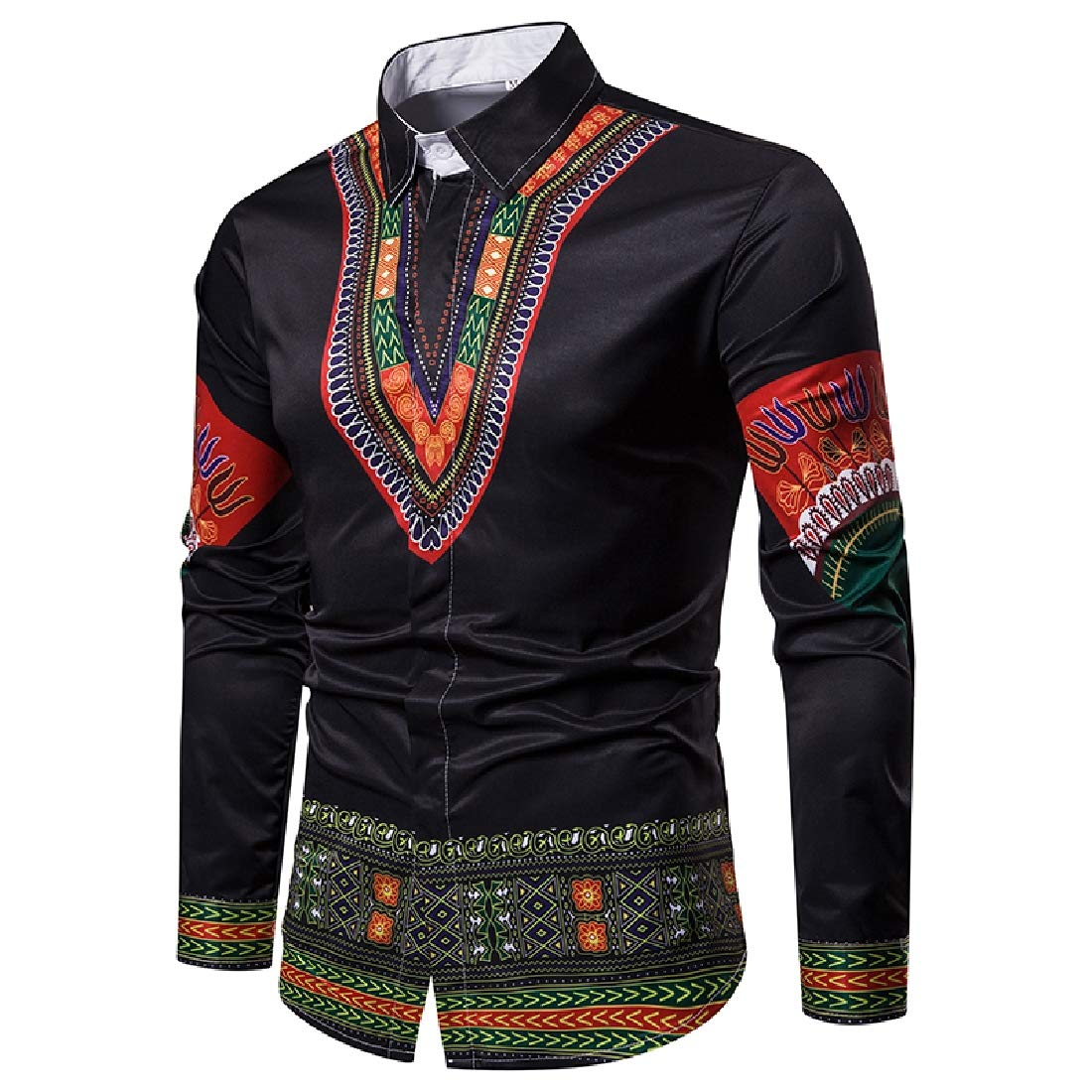 Coolred-Men Turn Down Collar Navajo Floral Dashiki Long-Sleeve African 3D Dress Shirts