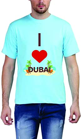 dd274bae Image Unavailable. Image not available for. Colour: Pushpindia Printed Blue  Round Neck T Shirt Design - Love Dubai