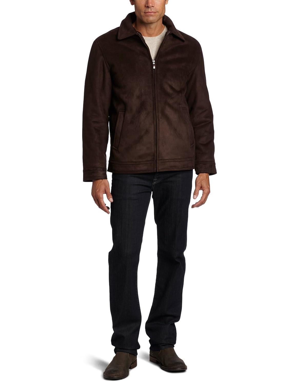 Nautica Men's Faux Shearling Jacket Dark Brown Medium at Amazon