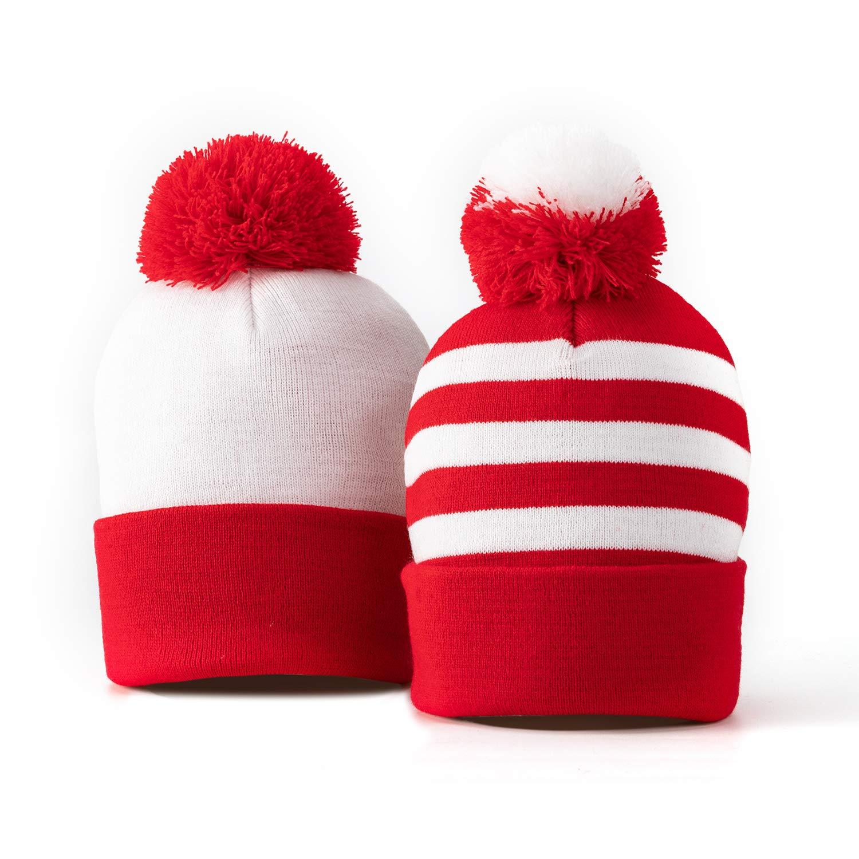 NINANO Winter Beanie Hat - Knitted Fabric Wheres Waldo Costume Hat (2Set) by NINANO