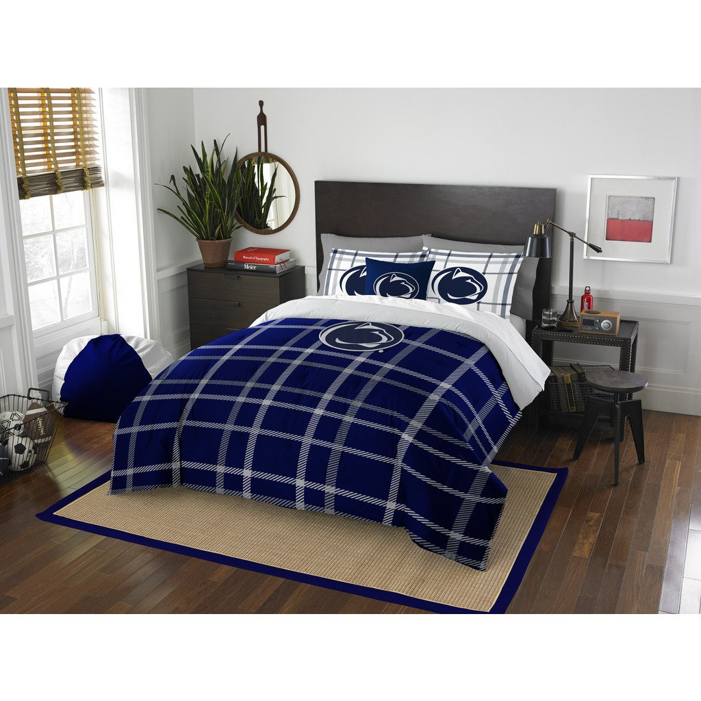 3 Piece NCAA Penn State Nittany Lions State College Full Comforter Set, Blue White, Sports Patterned Bedding, Featuring Team Logo, Penn State Merchandise, Team Spirit, College Football Themed by OS (Image #1)