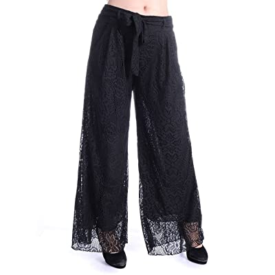 Anna-Kaci Women High Waist Loose Wide Leg Pants Boho Crochet Lace Palazzo Long Trouser at Women's Clothing store