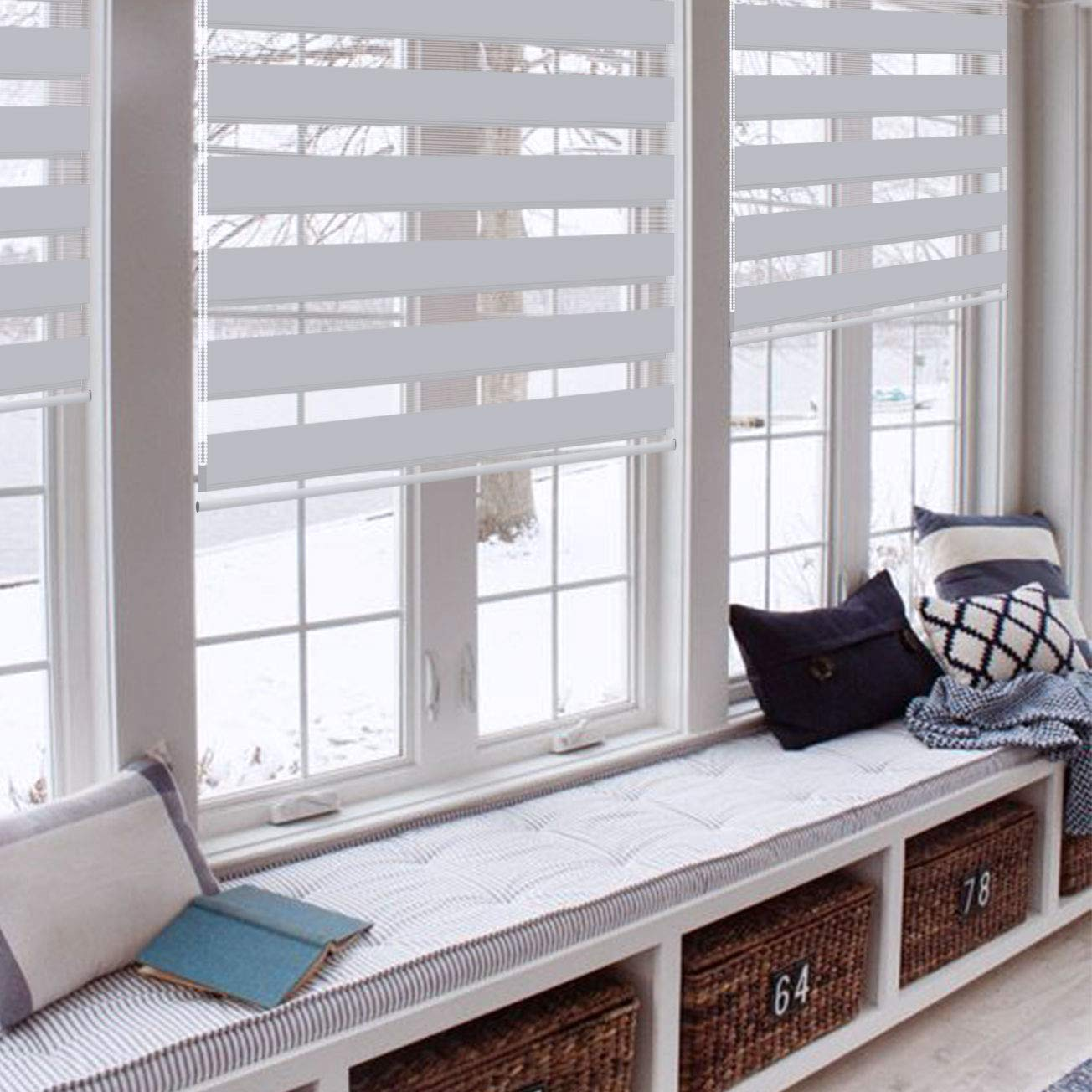 Day and Night Blinds 100/% Waterproof Fabric Easy to Install Blackout Vision Blinds Curtains for Windows with Install Accessories,21.7 x 59,Grey Horizontal Window Shade Roller Blind