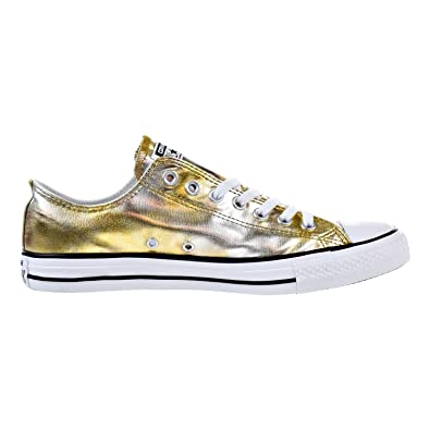 Converse All Star LO TOP Washed Metallic Silver Gold Size 8