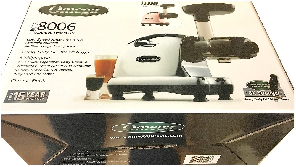 Omega J8006 Nutrition Center Quiet Dual-Stage Slow Speed Masticating Juicer Creates Continuous Fresh Healthy Fruit and Vegetable Juice at 80 Revolutions per Minute High Juice Yield, 150-Watt, Silver