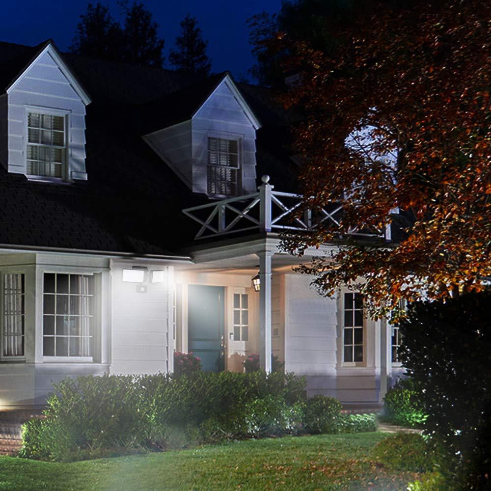 etc. Foco LED DLLT con sensor de movimiento garaje luz de seguridad con cabezal doble ajustable para patio entrada parque jard/ín pasillo