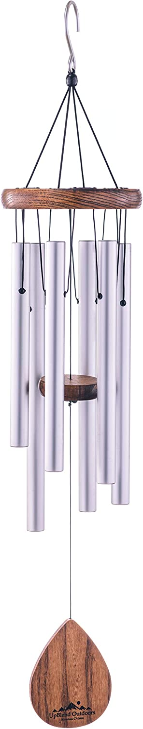 "UpBlend Outdoors Wind Chime - The Classic Silver Havasu is 28"" Total Length - Hand-Tuned and Beautiful as a Gift or for Your Patio, Garden, and Outdoor Home décor"