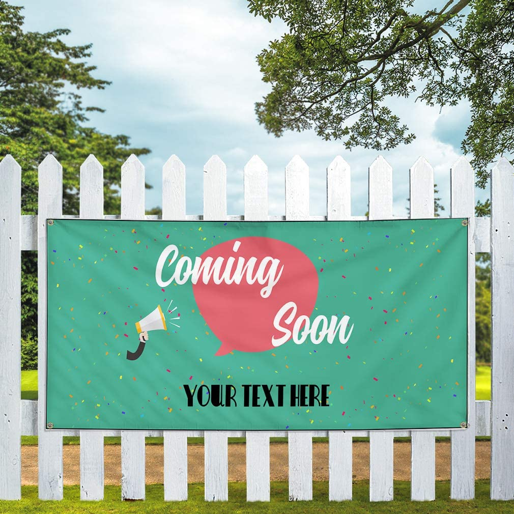 Custom Industrial Vinyl Banner Multiple Sizes Coming Soon Personalized Text Business Outdoor Weatherproof Yard Signs Green 10 Grommets 56x140Inches
