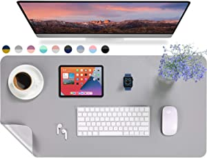 "AFRITEE Desk Pad Protector Mat - Dual Side PU Leather Desk Mat Large Mouse Pad Waterproof Desk Organizers Office Home Table Decor Gaming Writing Mat Smooth (Gray/Silver, 35.4"" x 17"")"
