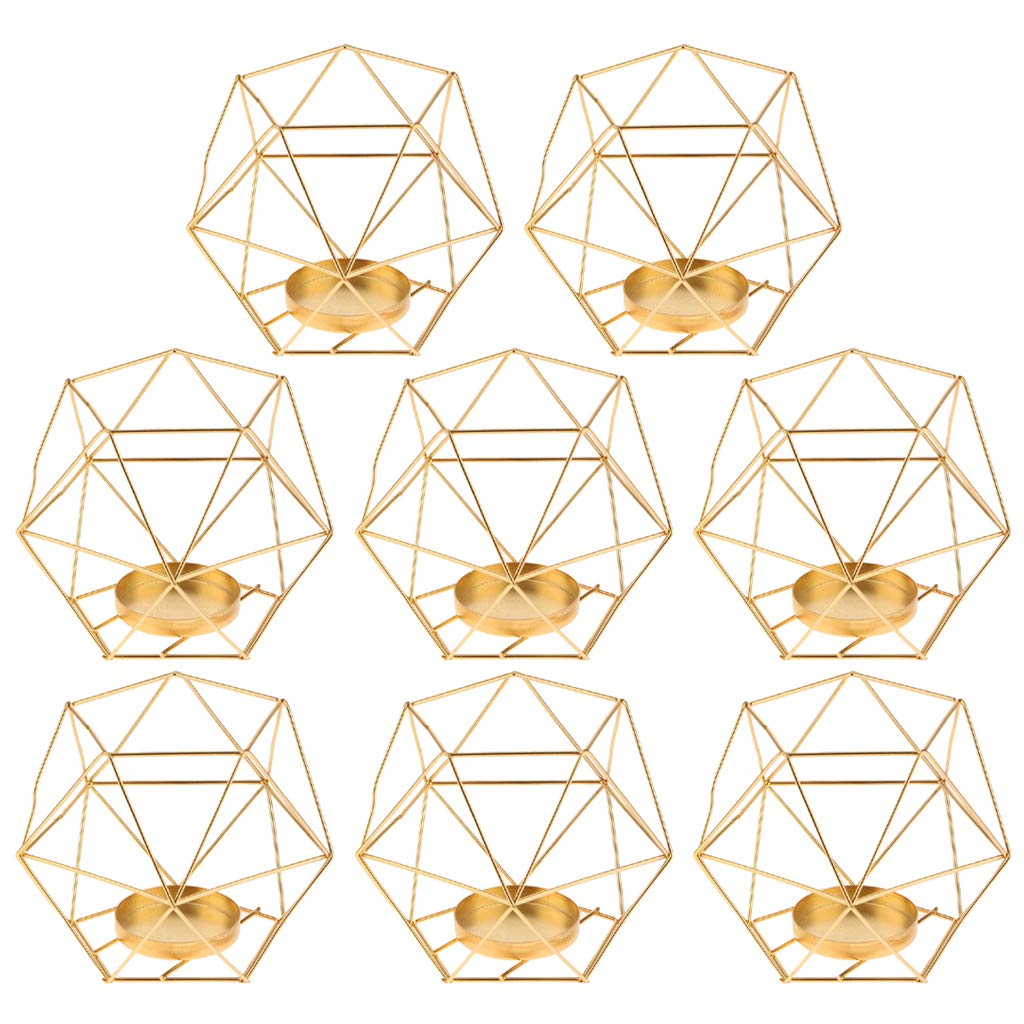 Flameer 8-Set Geometric Polished Tealight Candle Holder Table Top Centerpiece Weddings Events Parties Decor - Golden
