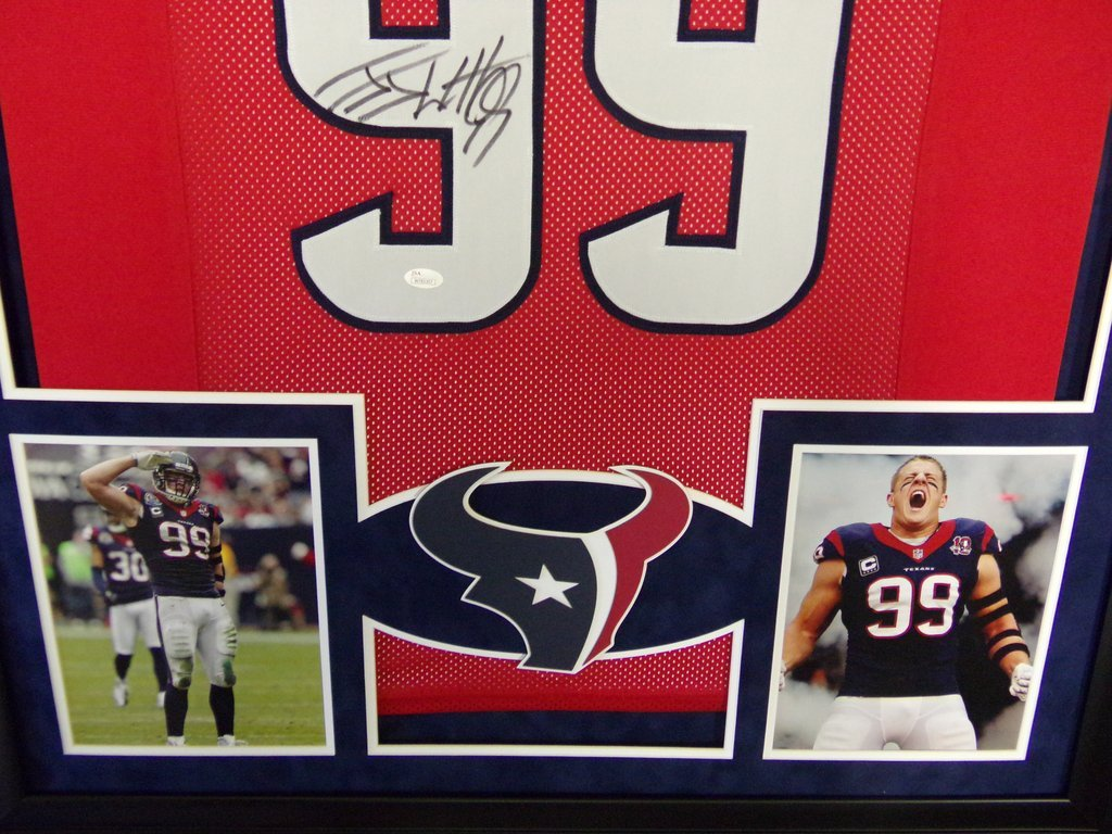 JJ Watt Houston Texans Autograph Signed Custom Framed Jersey Suede Mat Red JSA  Witnessed Certified at Amazon s Sports Collectibles Store 50ebe8574