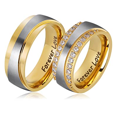 Amazoncom Aienid Wedding Bands for Him and Her Stianless Steel