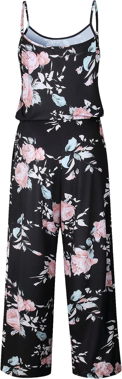 Womens Jumpsuit Romper Wide Leg Pants Floral Printed Spaghetti Strap Jumper Pajamas