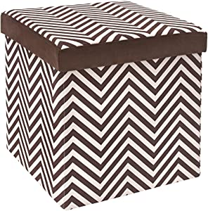 Fresh Home Elements The FHE Group Microsuede Folding Storage Ottoman, 15 by 15 by 15 Inches, Chocolate Zig Zag