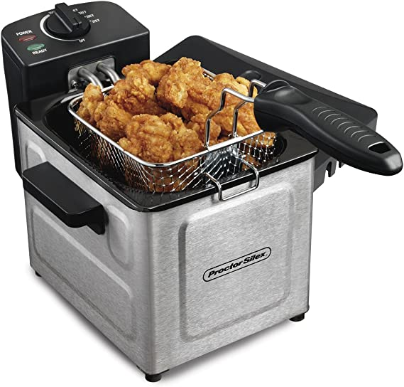 Proctor Silex Deep Fryer with Frying Basket, 1 to 4 Servings / 1.5 Liter Oil Capacity, Professional Grade, Electric, 1200 Watts, Stainless Steel ...