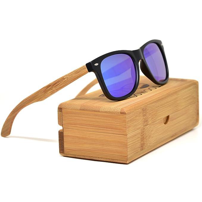 1bce717a41 GOWOOD Gafas de sol de madera de bambú para hombre y mujer con frontal  negro mate y lentes polarizadas azules de espejo: Amazon.es: Ropa y  accesorios