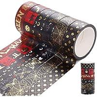 Halloween Decorations,6 Rolls Washi Tapes Set for Halloween Decor,Halloween Washi Tape Set Gold Stamping Masking Tapes…