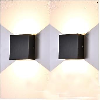 2 Pcs Aplique Pared Interior LED 7W Lámpara de pared Moderna 3000K Blanco Cálido Perfecto para Salon Dormitorio Sala Pasillo Escalera (Negro): Amazon.es: Iluminación