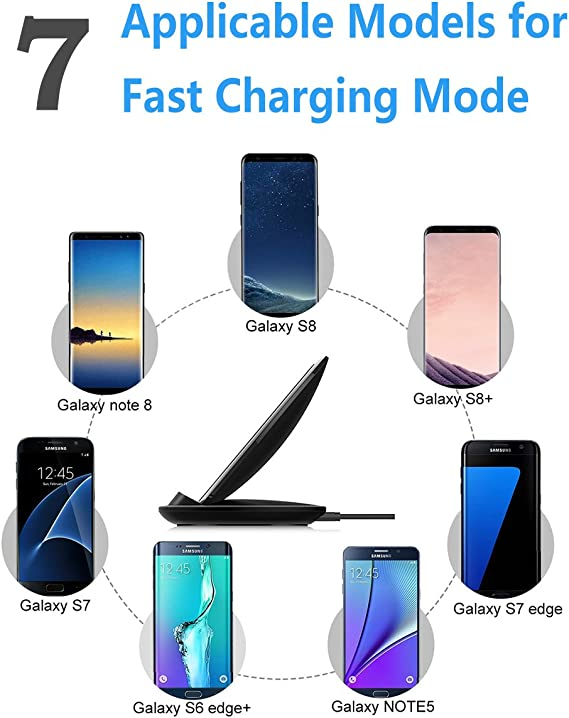 Provides Fast-Charging for Galaxy S8// S8+// S7 // S7 Edge // S6 Edge+ and Note 5 Mcdodo LED Wireless Fast Charger Charging 10W Pad for iPhone X 8//8 Plus Black Nexus 5//6 // 7 and Other Devices