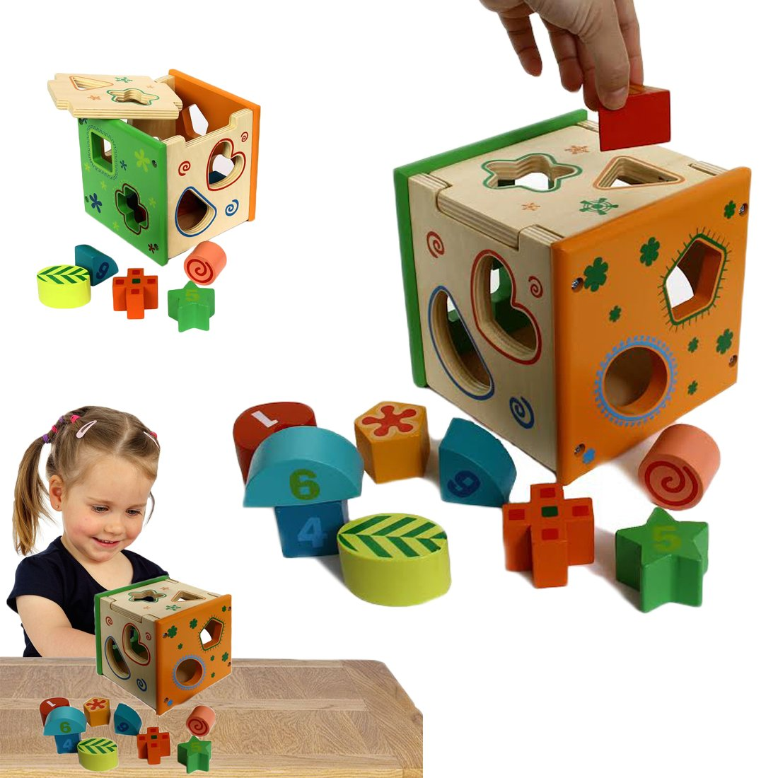 Wooden Shape Sorting Cube, Educational Toy for Children, 9 Geometric Shape Blocks, Double-Sided Assorted Color Pieces with Number / Design, by Dazzling Toys