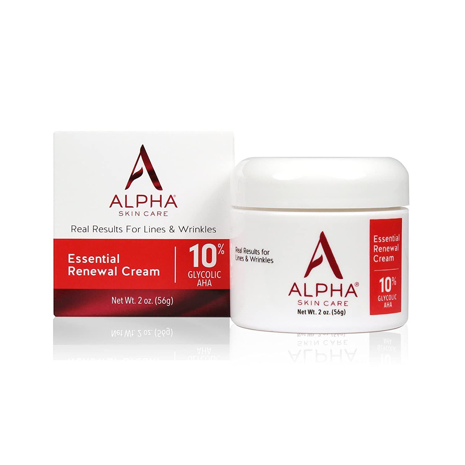 Alpha Skin Care Essential Renewal Cream | Anti-Aging Formula | 10% Glycolic Alpha Hydroxy Acid (AHA) | Reduces the Appearance of Lines & Wrinkles | For Normal to Dry Skin | 2 Oz