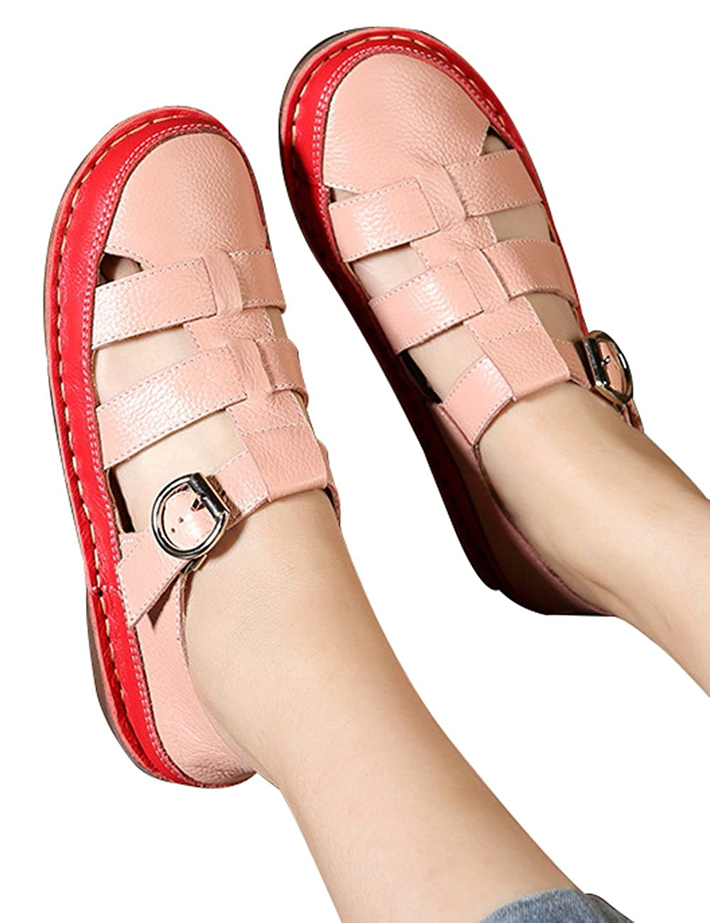 Zoulee Womens Handmade Woven Leather Sandals Beach Shoes