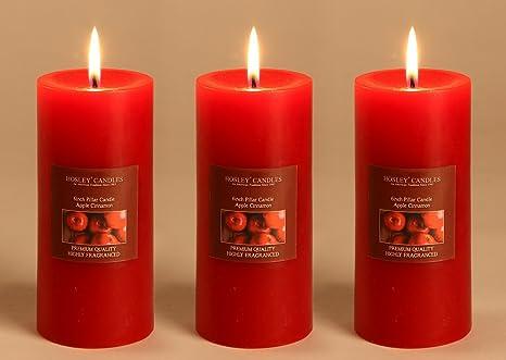 Hosley Set of 3 Apple Cinnamon 6Inchs Pillar Candles