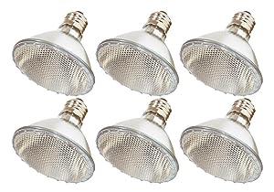 Pack Of 6 39PAR30/NFL - 39 Watt High Output (50W Replacement) PAR30 Flood Short Neck - 120 Volt Halogen Light Bulbs