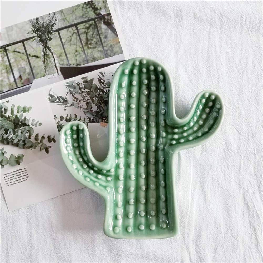 Wall of Dragon Ins Nordic Ceramic Cactus Storage Tray Fashion Cactus Shape Jewelry Plate Dessert Plate Table Decoration Props