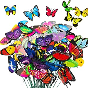 50 Pieces 11.5 inch Butterfly Stakes,Garden and Patio Decor Butterflies Ornaments,Multicolored Butterfly Stakes for Outdoor Decorations,Party Supplies,Flower Pot Bed Decor and Christmas Decorations
