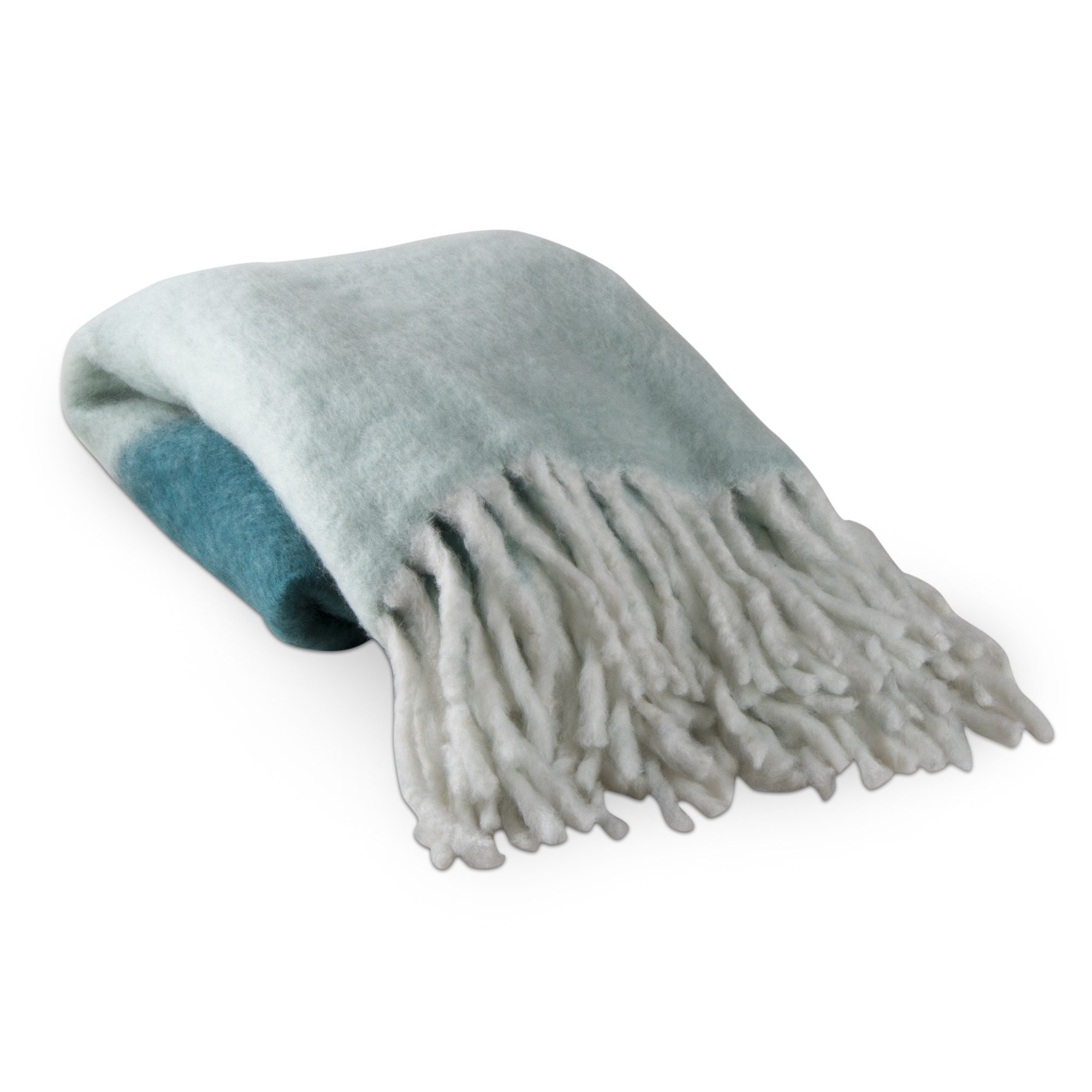 tag - Mohair Ombre Throw Blanket, Handwoven Warmth & Comfort, Teal