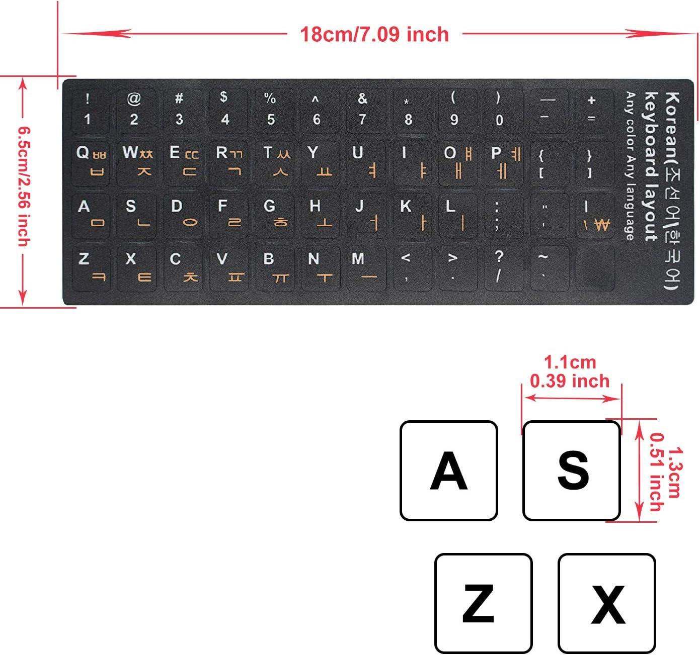 Paquete de 2 pegatinas coreanas para teclado, coreanas para ...