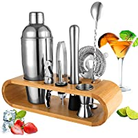 BRITOR Cocktail Shaker Set Bartender Kit,10-Piece Cocktail Kit Bar Tool Set with Bamboo Stand - Stainless Steel Cocktail…